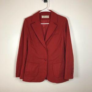 Women Vintage Red Wool Blazer